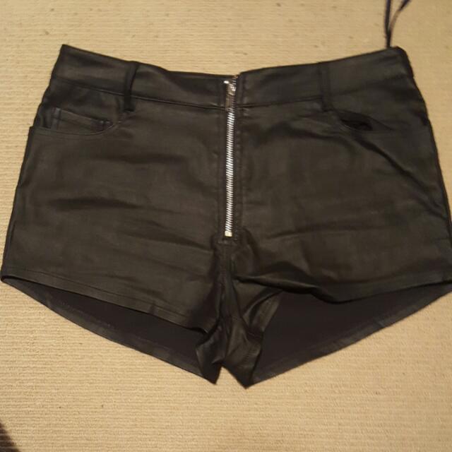 One Way Leather Shorts. Size 12