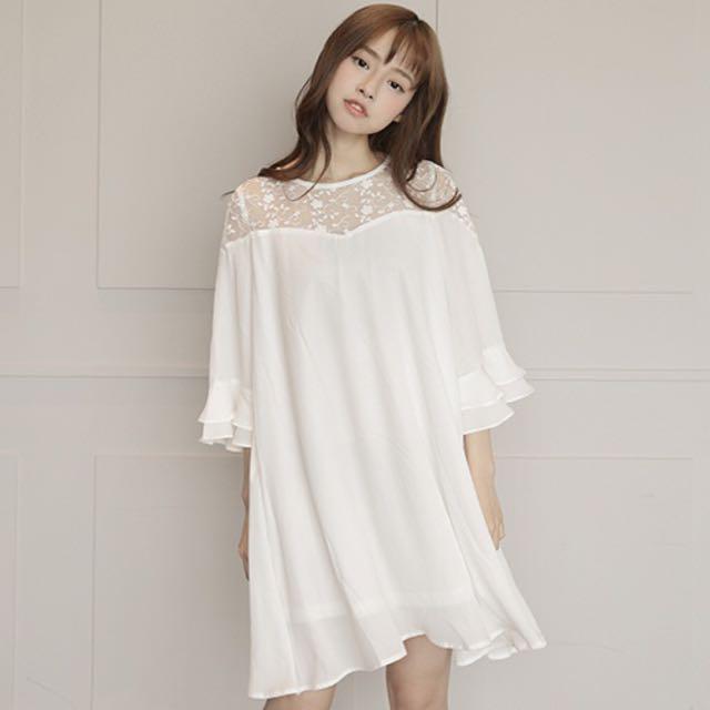 Pazzo全新白色輕飄仙女氣質透肌感蕾絲荷葉袖洋裝
