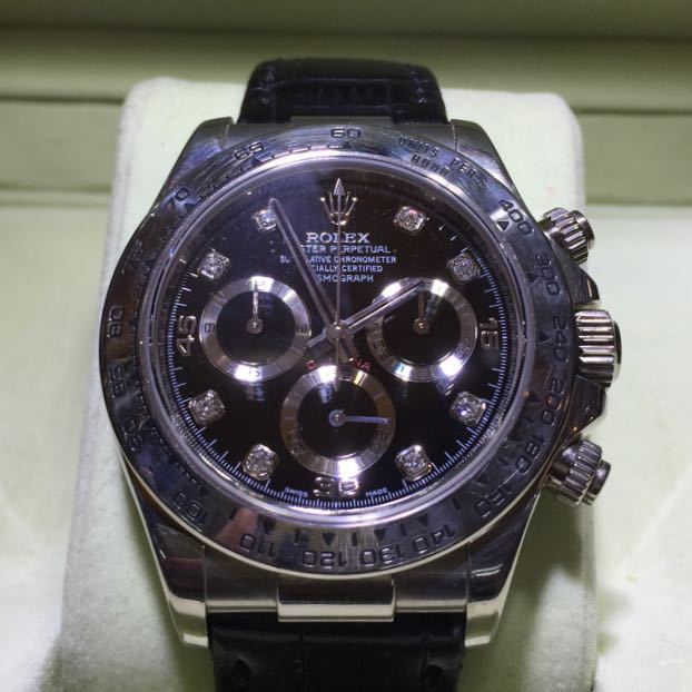 Rolex Daytona White Gold Diamond Dial Leather Strap Luxury Watches