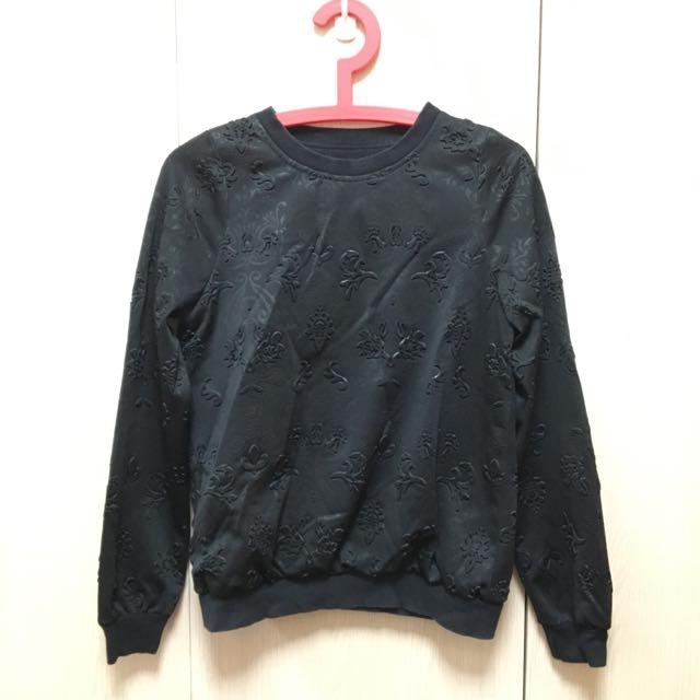 立體圖案黑色長袖T