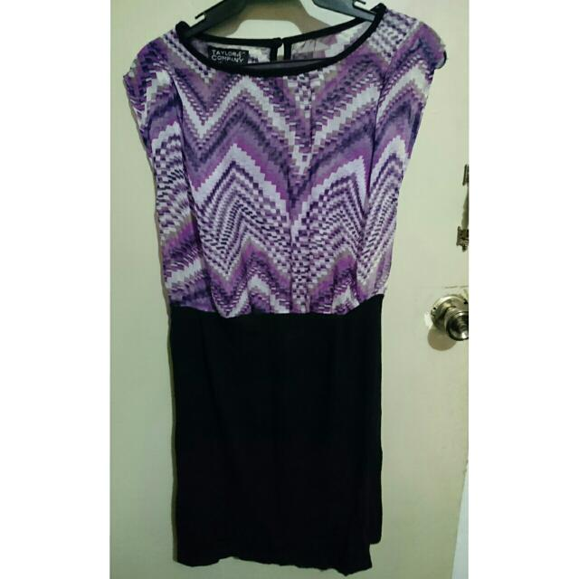 Taylor & Company Purple And Black Dress