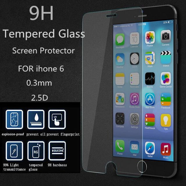 Tempered Glass available for iPhone 4/4S, 5/5C/5S, 6/6Plus, 6S/6SPlus and Samsung S4, S5, S6