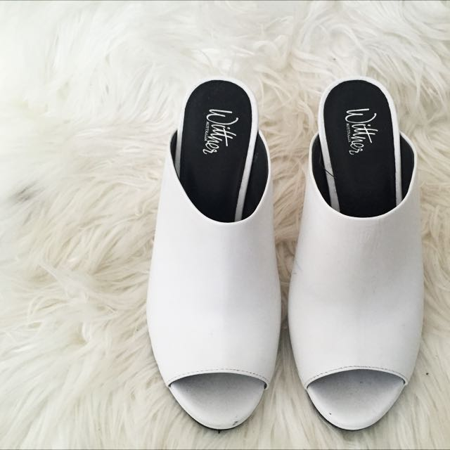 Wittner Mules White and Silver