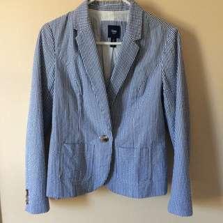 Blue and White Striped Gap Blazer