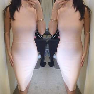 Ladies Turtleneck Pink Bandage Bodycon Dress Size Xs S M L❤️