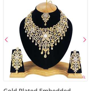 Price Drop!! Gold Plated CZ Indian Bridal Set