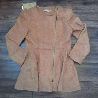 Tan Peplum Side Zipper Coat
