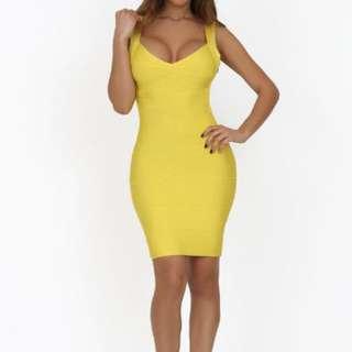 Gorgeous Sexy Low Back Yellow Bandage Style Dress