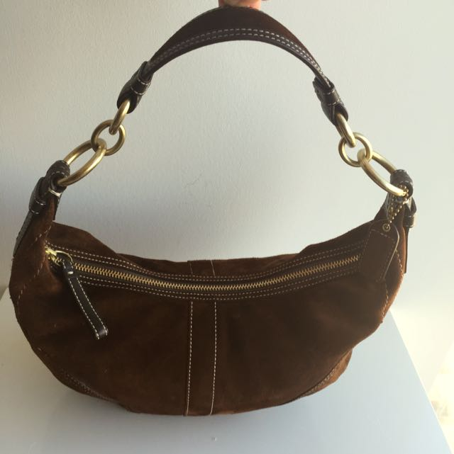 100% Genuine Suede Coach Hobo Bag (medium)