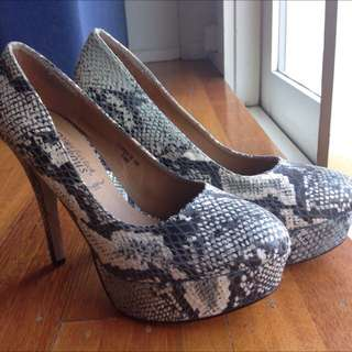 Snake Skin Print Stiletto High Heels Perfect Condition Party Formal Halloween Clubbing