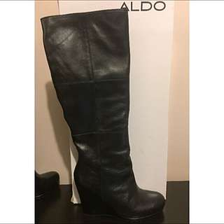 New Size 8 Leather Wedge Aldo Boots