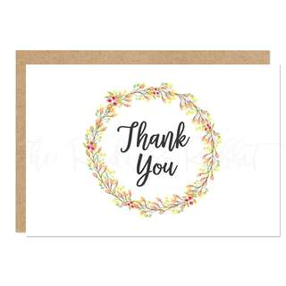 Greeting Card: THANK YOU (GREEN YELLOW FLOWER WREATH)