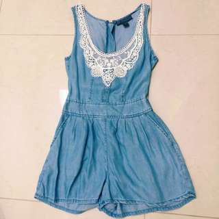 Denim Laced Playsuit
