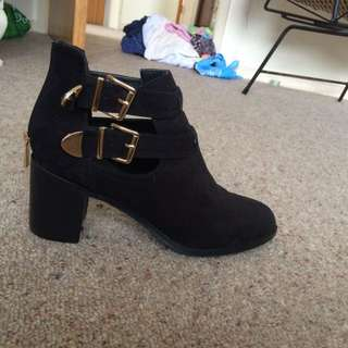Black Boots With Gold Buckle