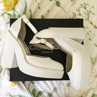 🌻 BRAND NEW WINDSOR SMITH WOMAN POW WHITE CHUNKY LEATHER HEELS 🌻