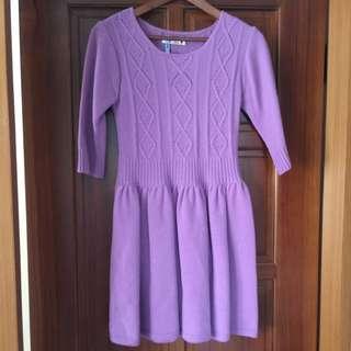 鬱金香紫羊毛洋裝