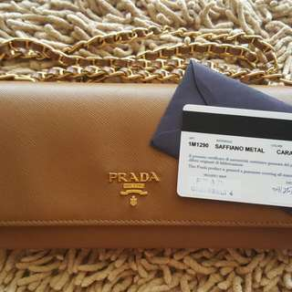 Authentic Prada Saffiano Wallet on Chain (Caramel)