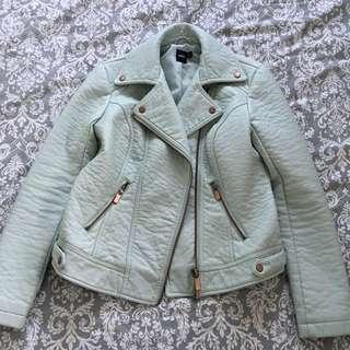 Mint Coloured Faux Leather Jacket