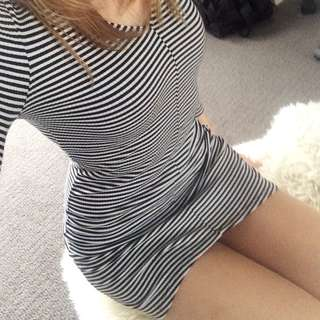 Bodycon Dress With Black And White Stripes Size Xsmall To Small