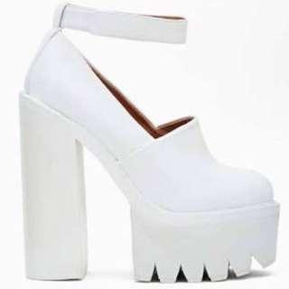 Jeffrey Campbell Scully White Platform Heels
