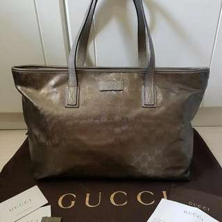 Authentic Gucci Bronze Waterproof Coated Canvas Tote Complete Set With Receipt