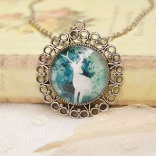 Vintage Retro Spherical Glass Surface Illusion Deer Pendant Necklace