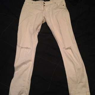 White Ripped Jeans Size 14