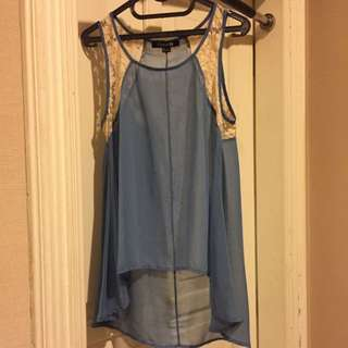 Forever21 Blue Top With Lace Detailing