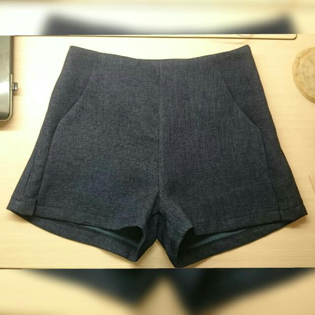 (含運)秋冬深藍質感短褲