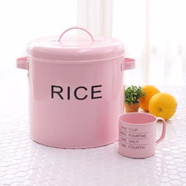 鄉村風馬口鐵加厚鐵皮儲米桶收納罐儲存罐米桶