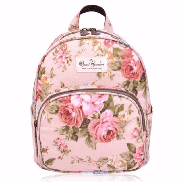 韓版田園玫瑰防水後背包/手提包/旅行包/野餐包