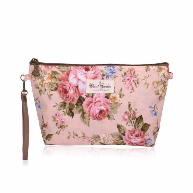 田園玫瑰防水化妝包收納包/筆袋/旅行包/手拿包/零錢包
