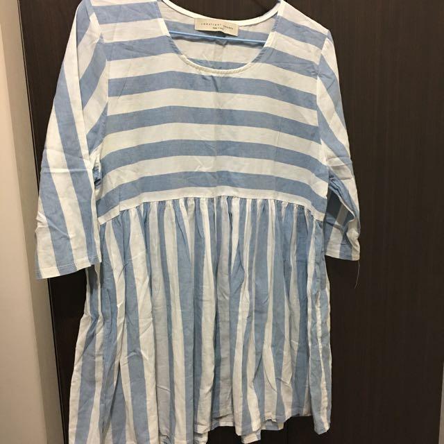藍白條紋棉麻短洋裝