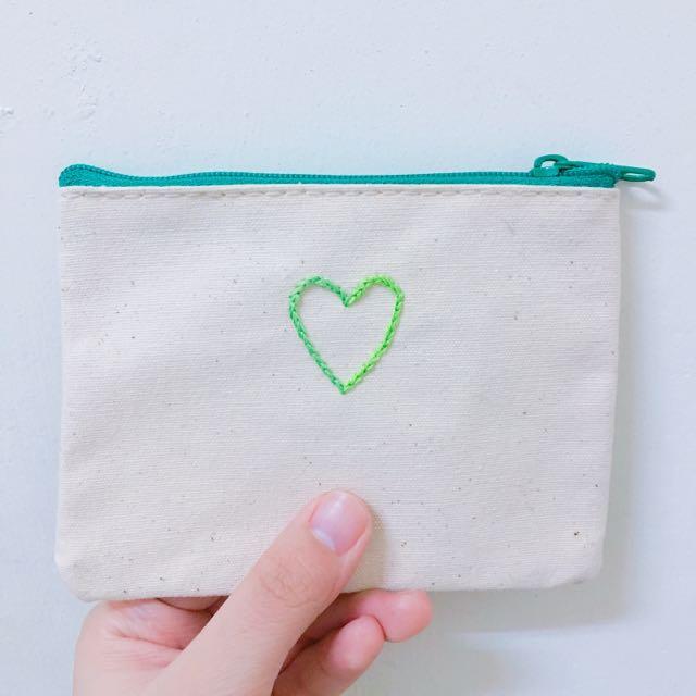 愛心刺繡零錢包💚