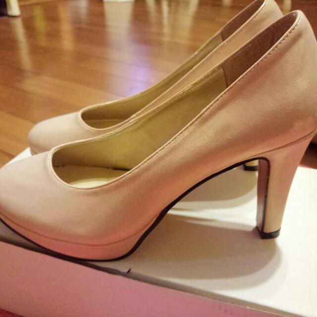 珠光粉高跟鞋 伴娘鞋 全新