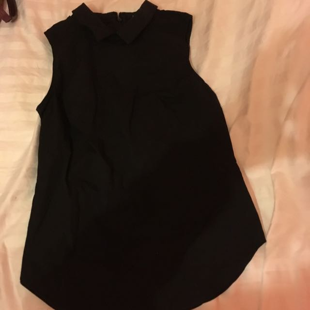 Armani Exchange Black Collared Sleeveless Shirt
