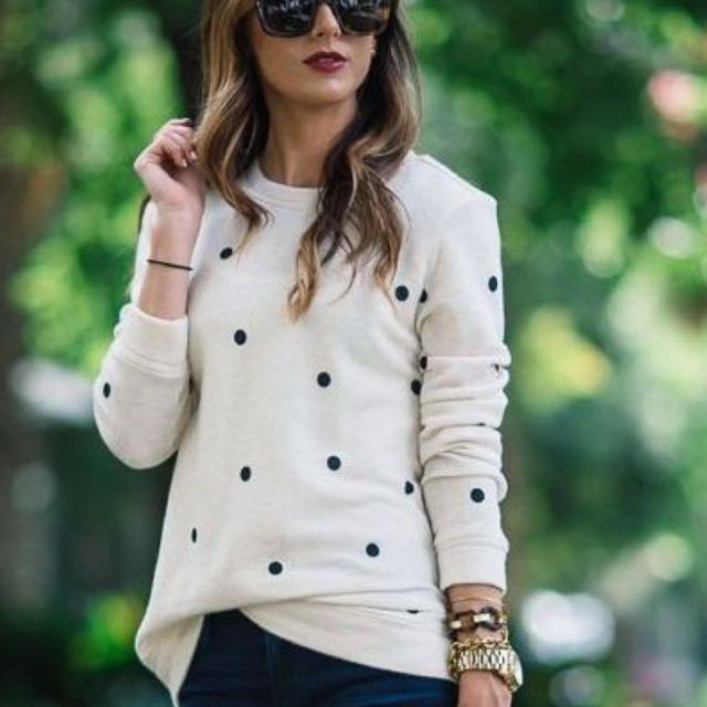 Black On White Polka Dot Blouse/sweater