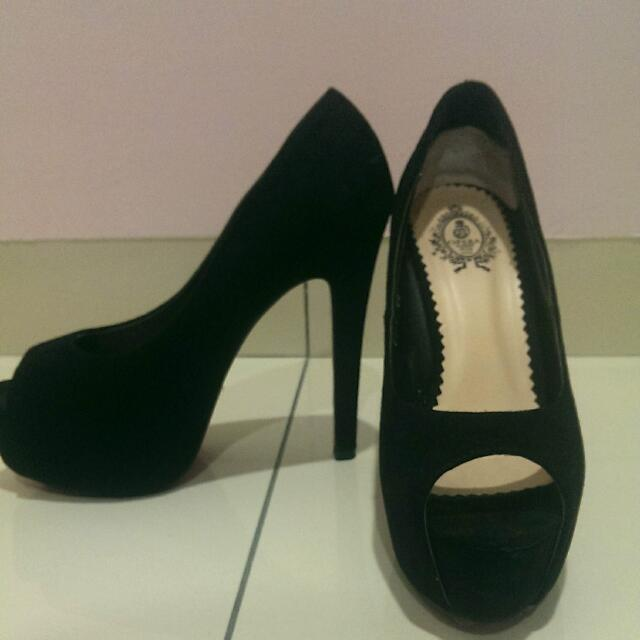 Black Open Toe Platform High Heels From Opera