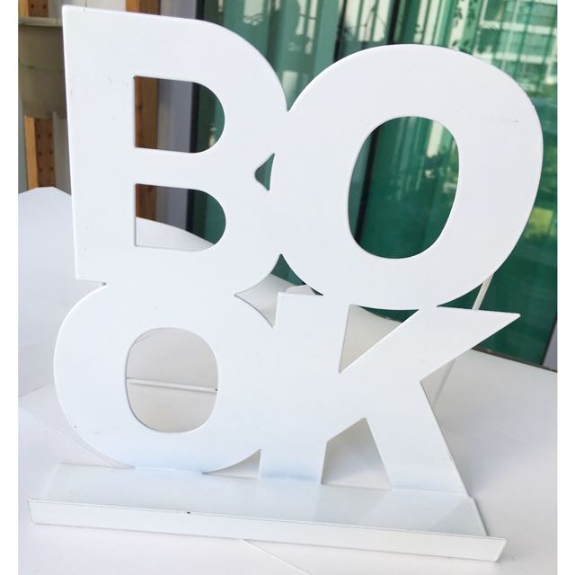 BN White Metal Book Stand Display