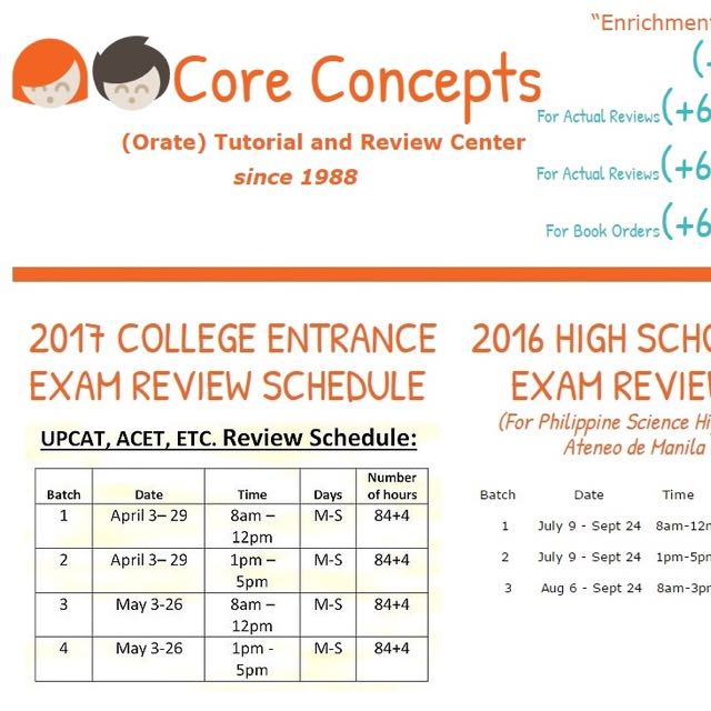 College UPCAT ACET DLSUCET Science High School PSHS NCE Review Classes
