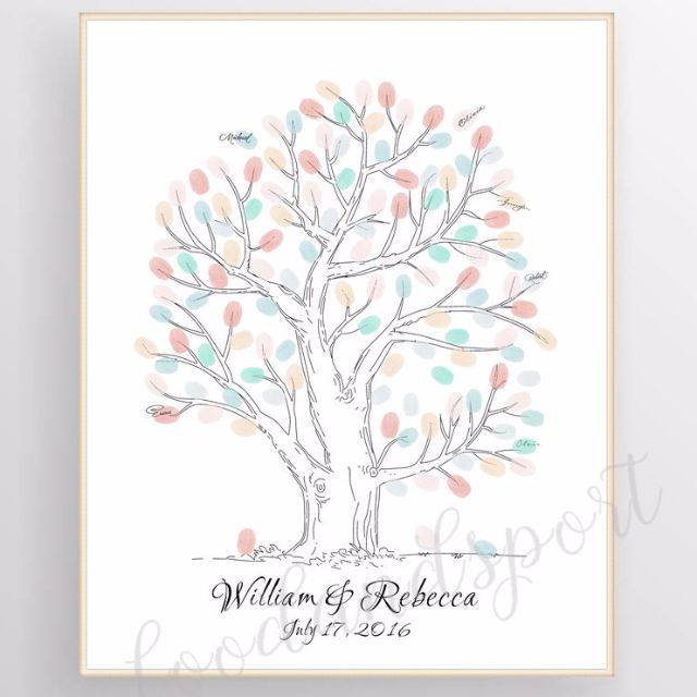 LianLe Canvas Wedding Fingerprint Tree Signature Tree Guest Book Thumbprint Tree DIY Wedding Party Sign (With ...