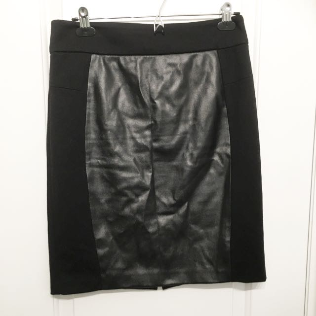Faux Leather Accent Pencil Skirt