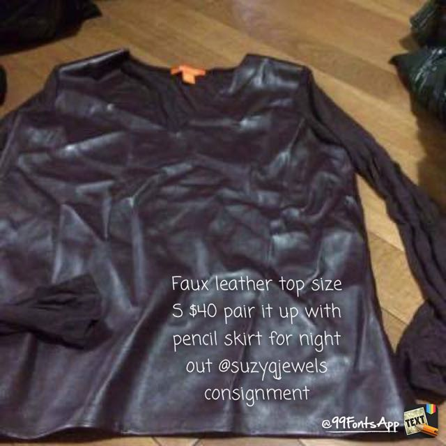 Faux Leather Top M