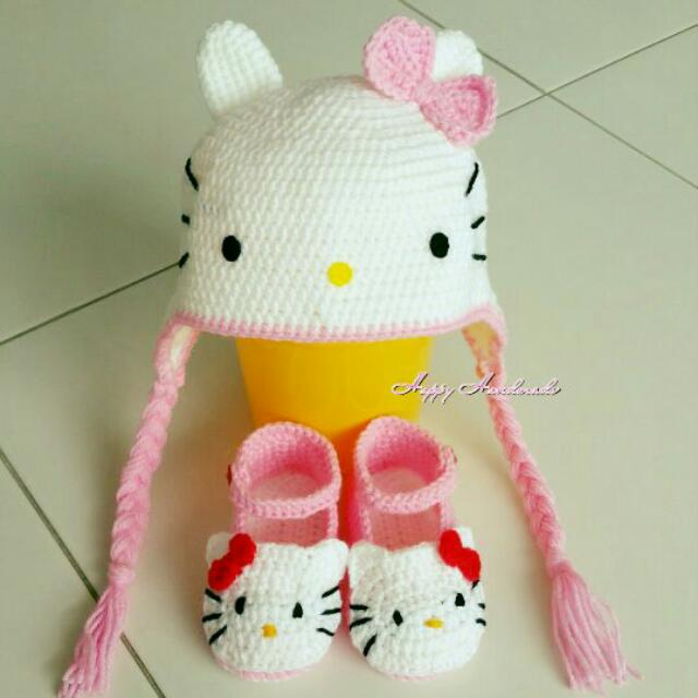 72224e655 Hello Kitty Hat & Shoes (Handmade Crochet), Babies & Kids, Babies Apparel  on Carousell