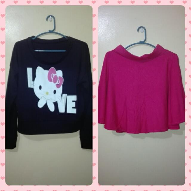 HK ❤ crop pullover and Pink skater skirt