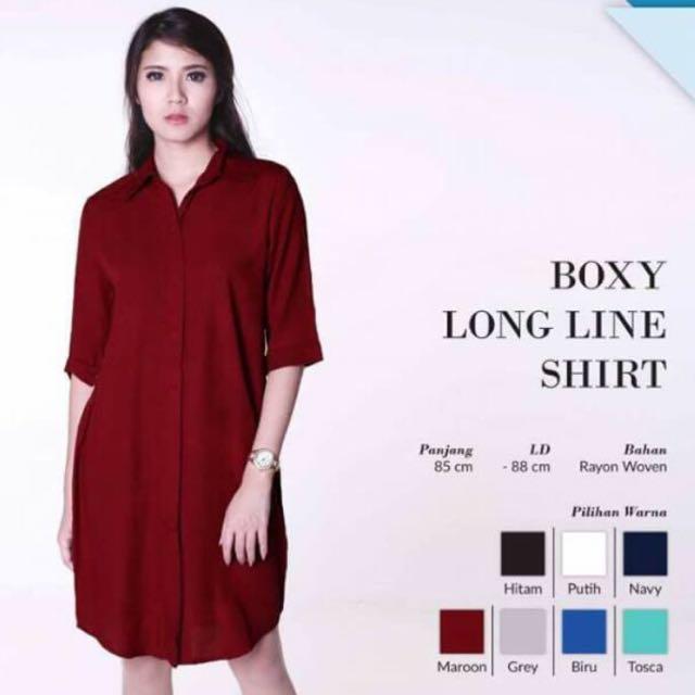 Kemeja Dress Atau Boxy Long Line Merah