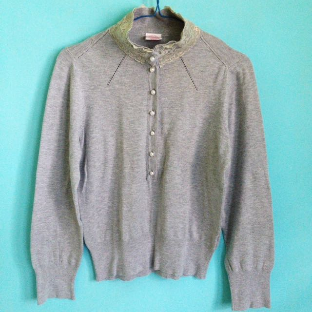Lace-necked Grey Sweater