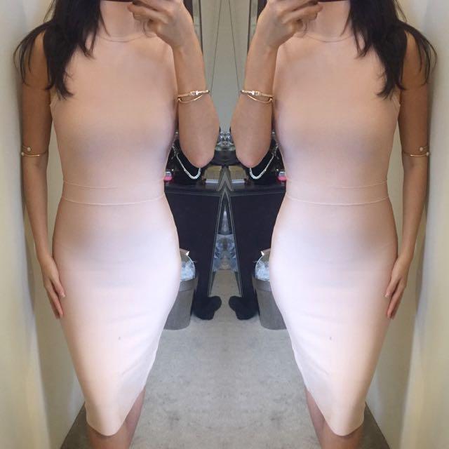 Ladies Turtleneck Pink Bandage Bodycon Dress Size Xs S M L❤️