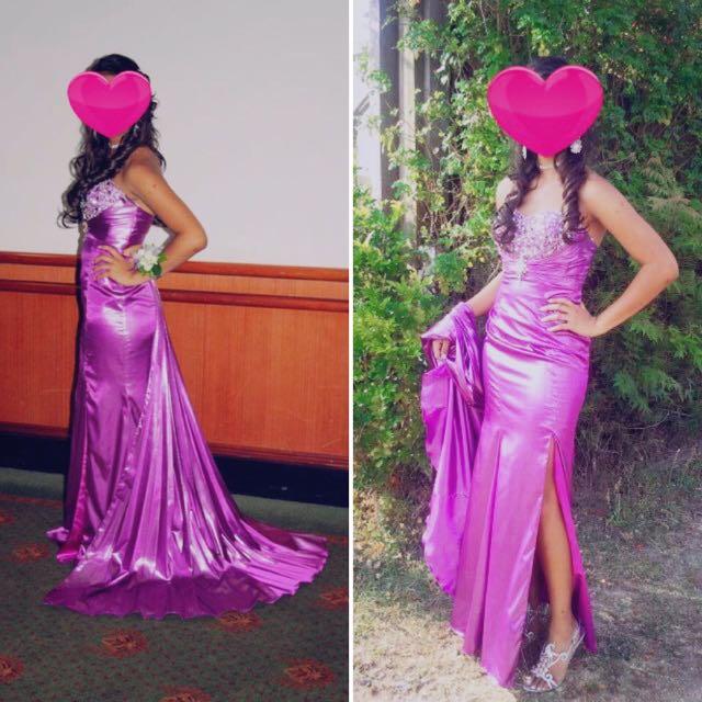 Lovely Silk/Sheer Purple Formal Dress