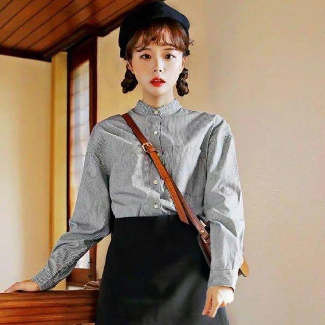 韓國代購MERONGSHOP繫扣長袖襯衫